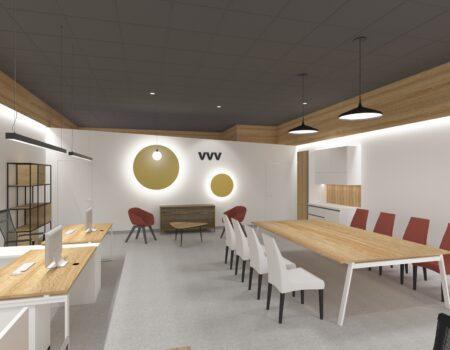 Интерьер офисного пространства на красной